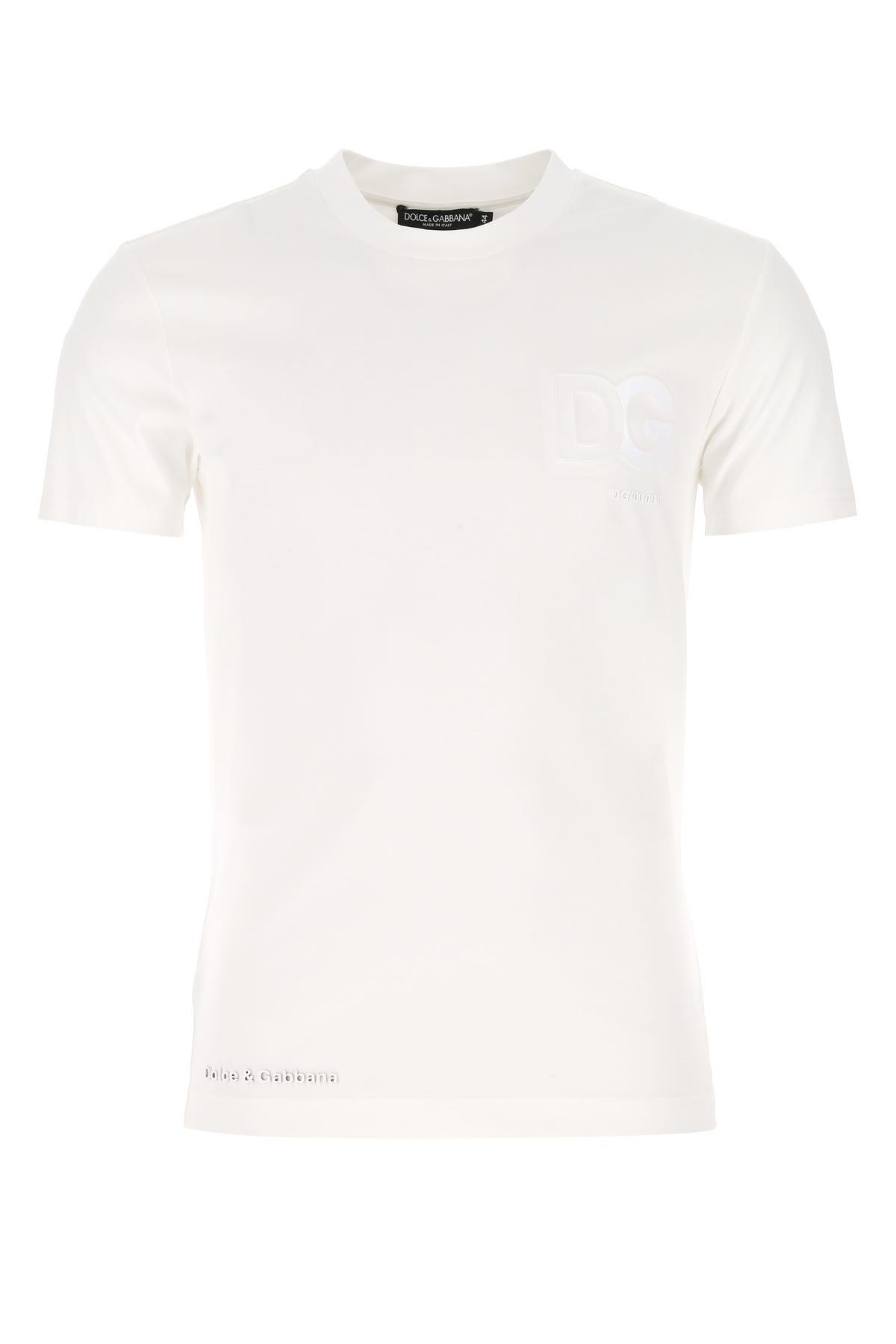 Dolce & Gabbana White Stretch Cotton Blend T-shirt  White Dolce & Gabbana Uomo 46