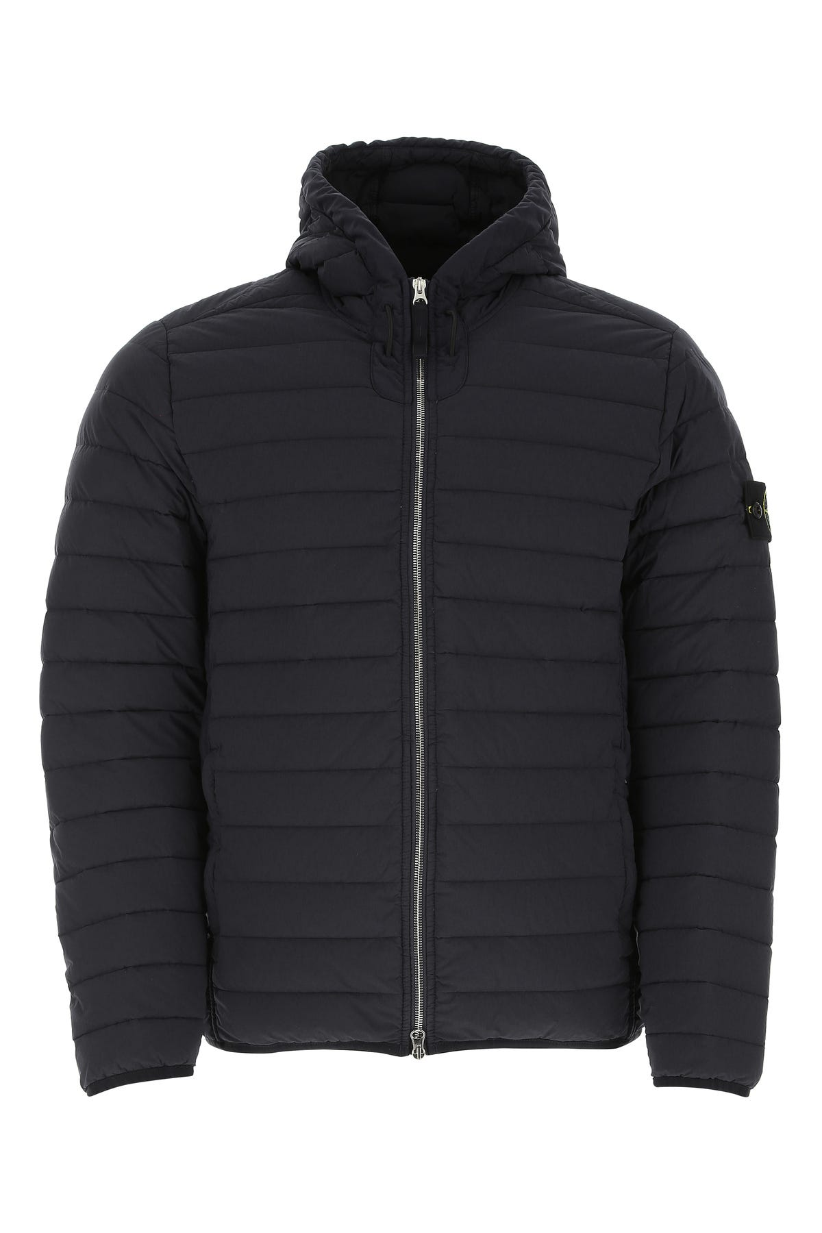 Stone Island 41125 Loom Woven Down Chambers Stretch Nylon-tc Hooded Down Blouson Navy Blue In Blue Marine