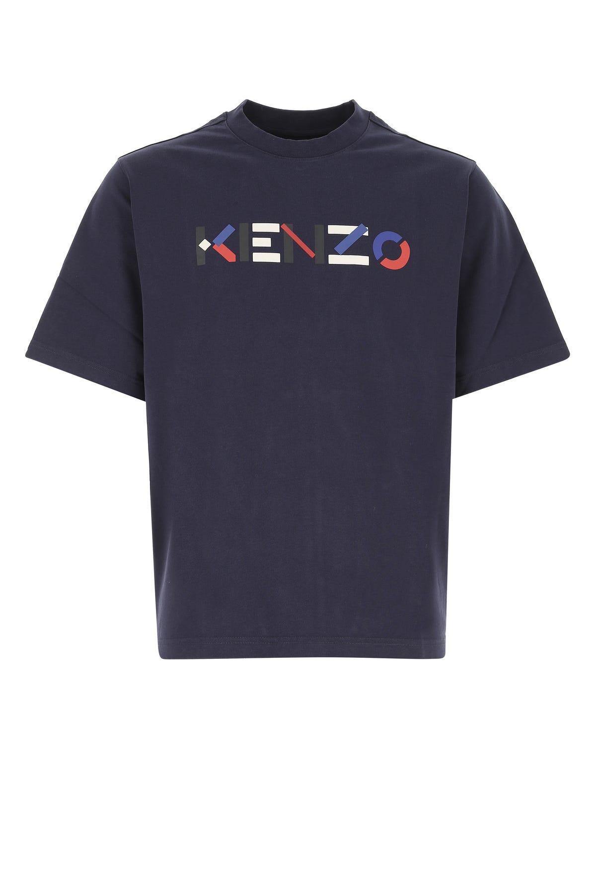 Kenzo Logo T-shirt In Navy