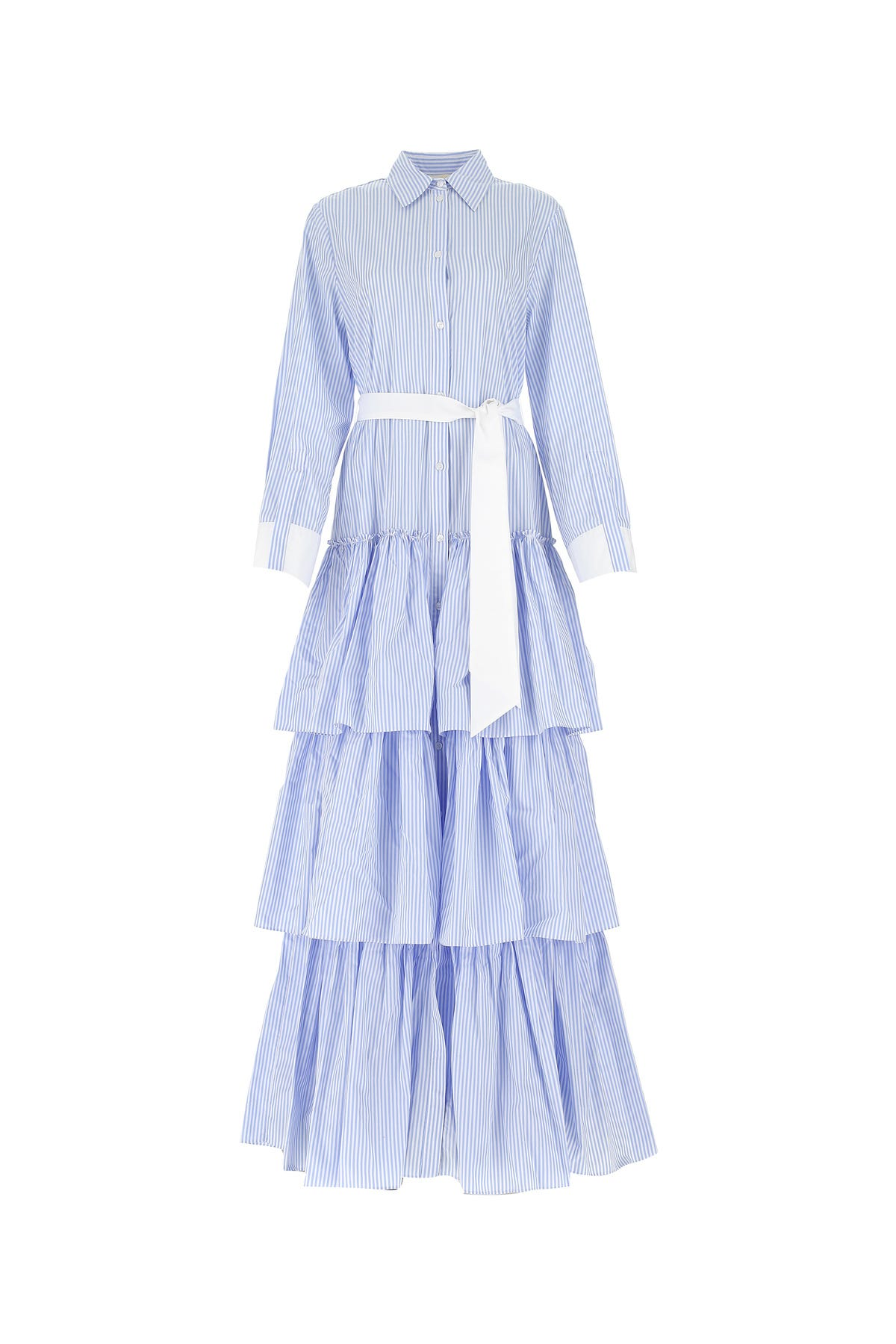 Sara Battaglia Long Dress In Light Blue