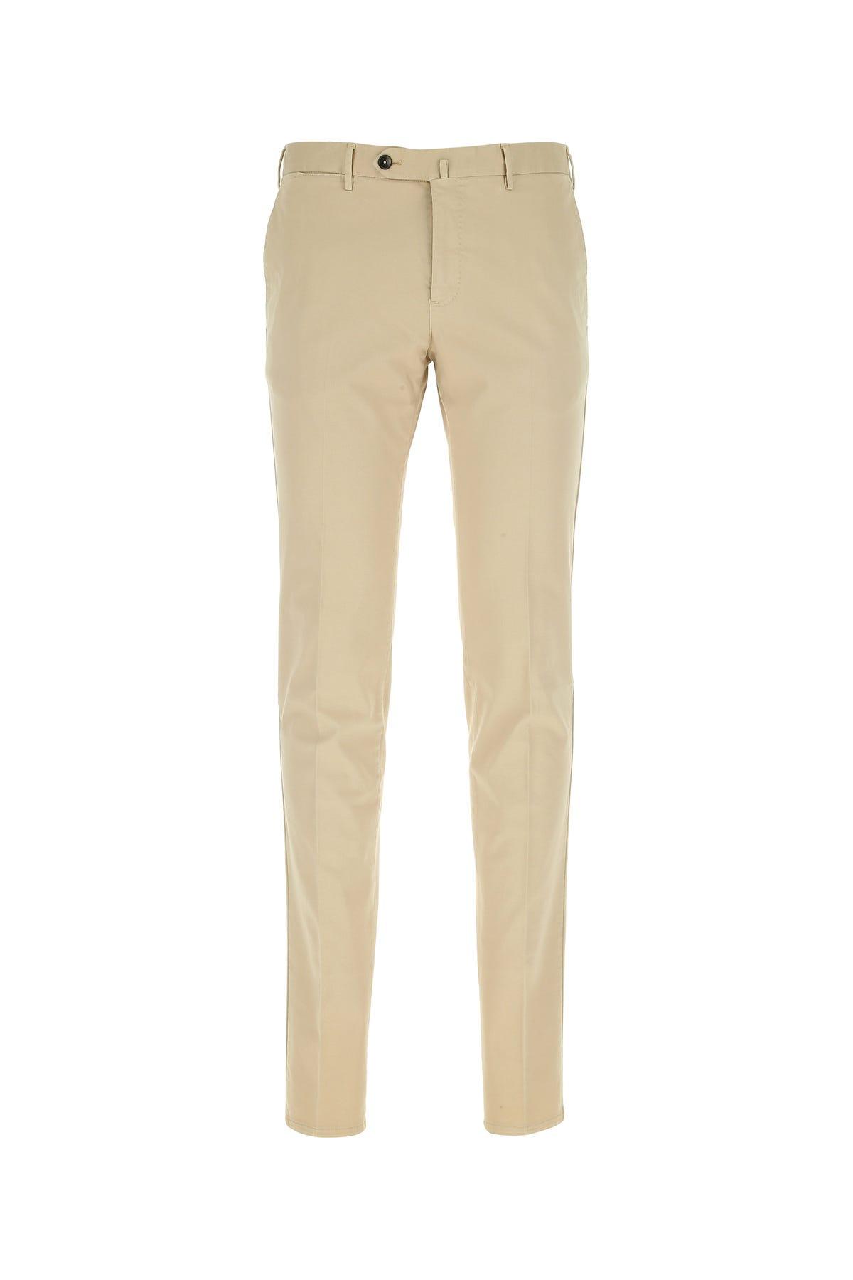 Pt01 Sand Stretch Cotton Blend Pant  Beige  Uomo 56