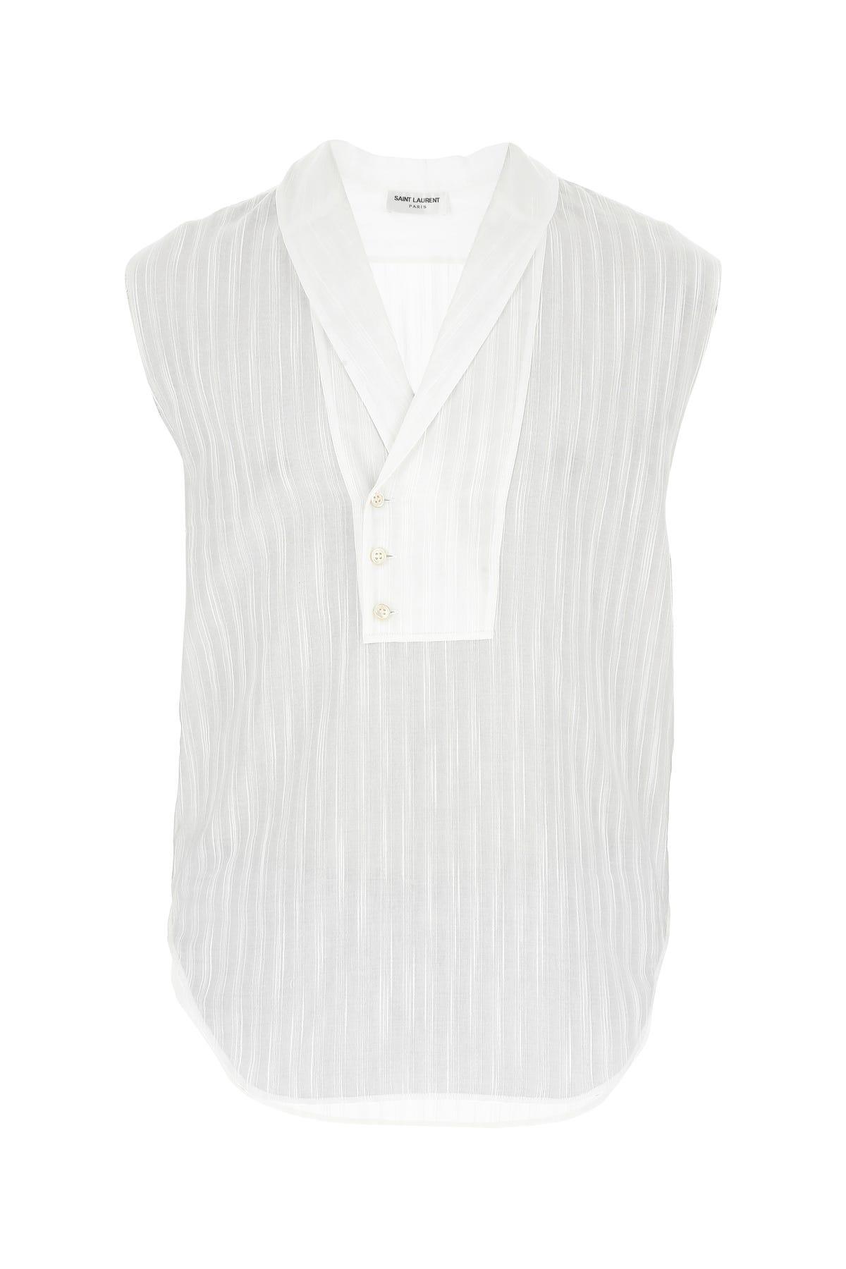 Saint Laurent White Cotton Shirt  White  Uomo 41