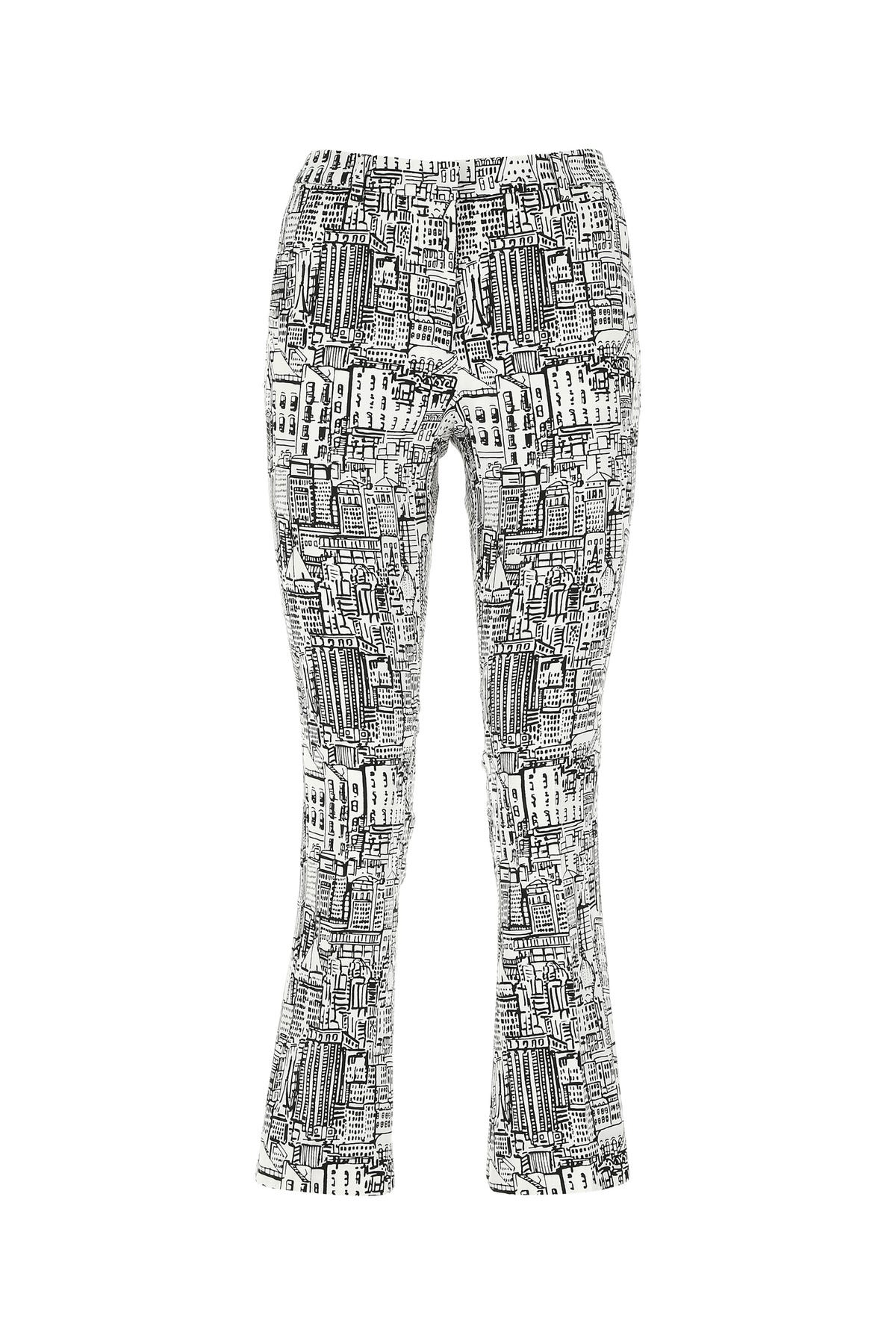 Pt01 PRINTED STRETCH COTTON PANT  PRINTED PT01 DONNA 44