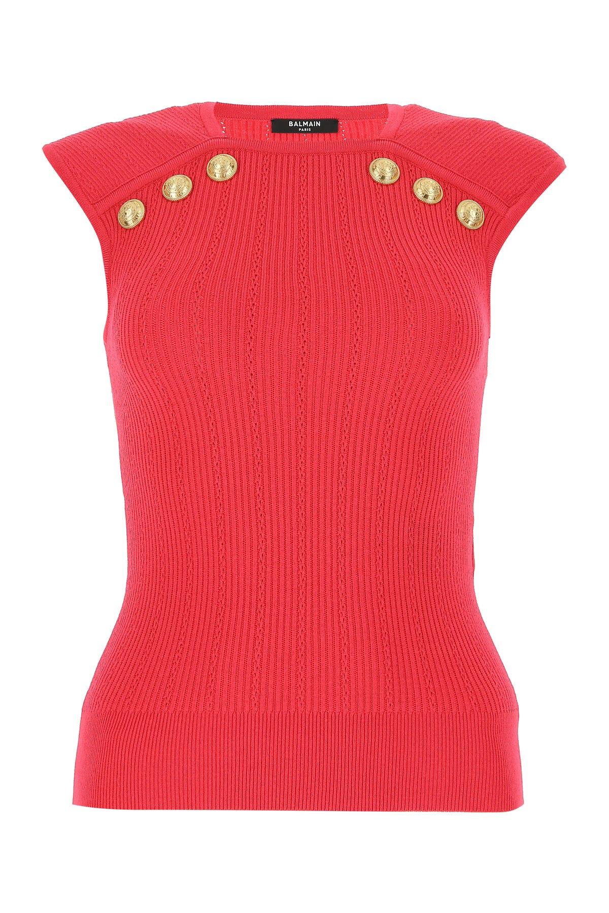 Balmain Shirts CORAL VISCOSE BLEND TOP  RED BALMAIN DONNA 40F