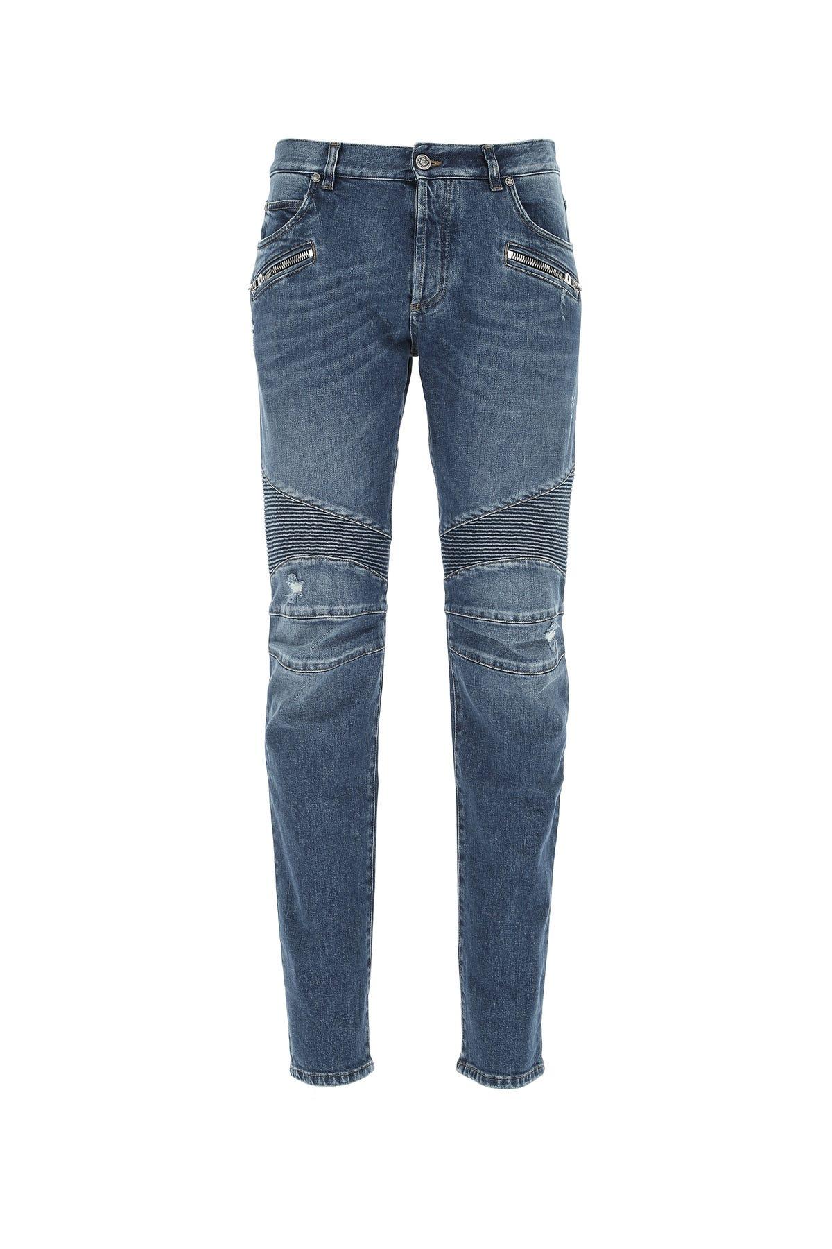 Balmain Stretch Denim Jeans  Blue  Uomo 34