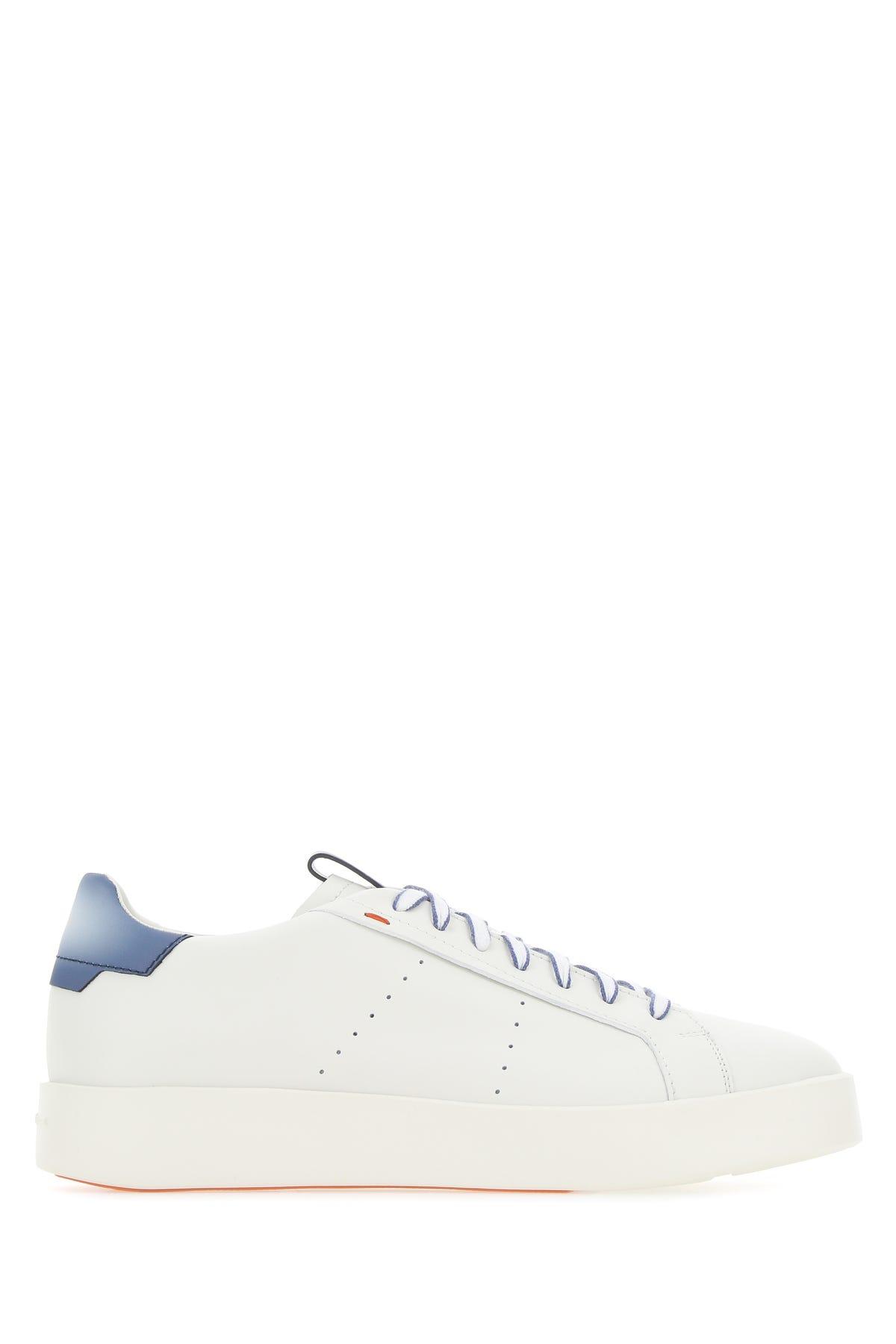 Santoni White Leather Sneakers  White  Uomo 9+