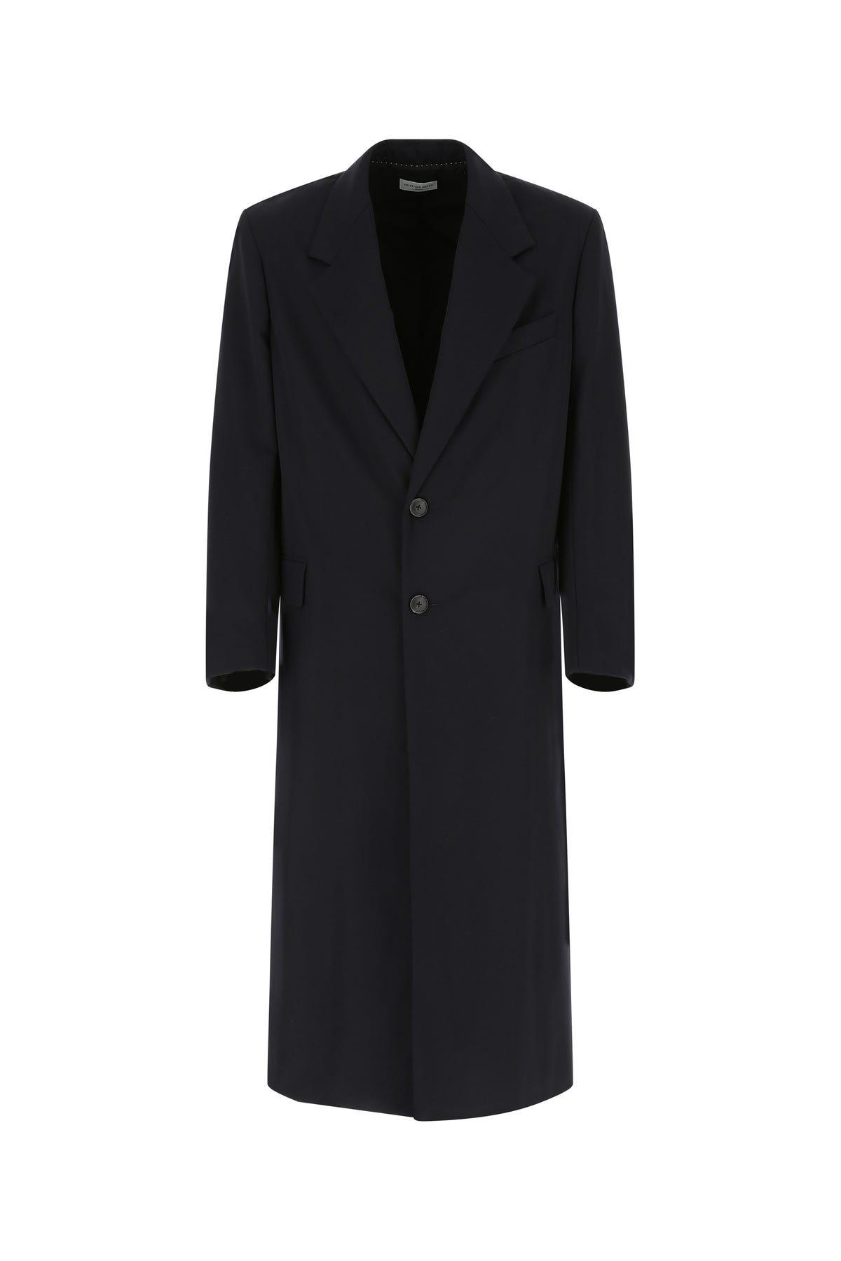 Dries Van Noten Midnight Blue Wool Coat  Blue  Uomo L