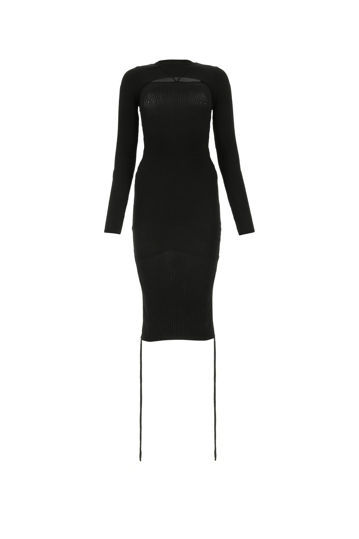 Adamo Black Stretch Viscose Blend Dress  Black  Donna Xs