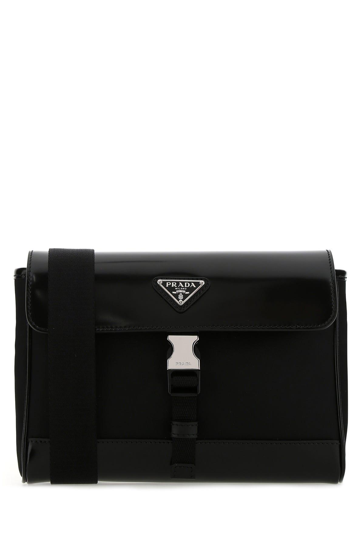 Prada Black Re-nylon And Leather Crossbody Bag  Nd  Uomo Tu