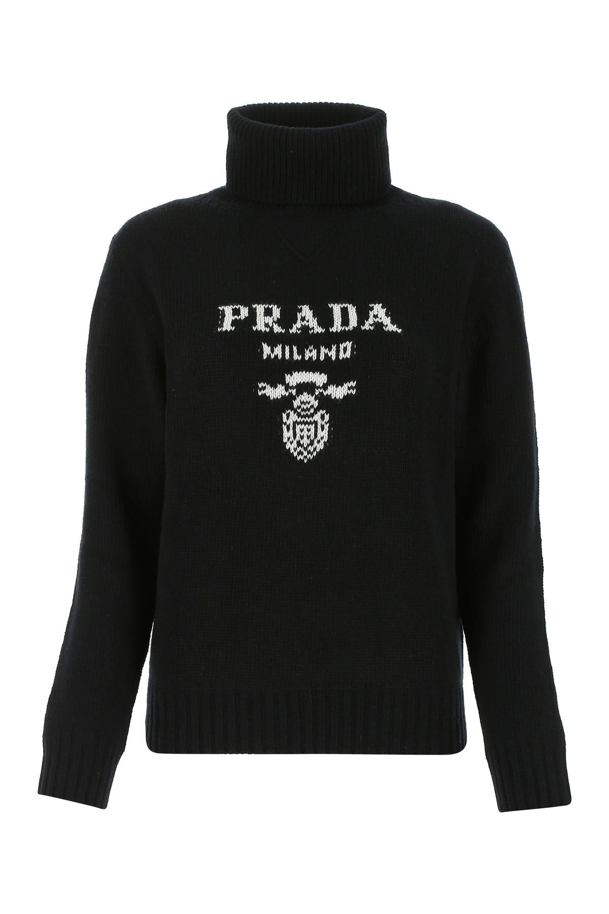 Prada Logo Jacquard Turtleneck Wool Sweater In Black