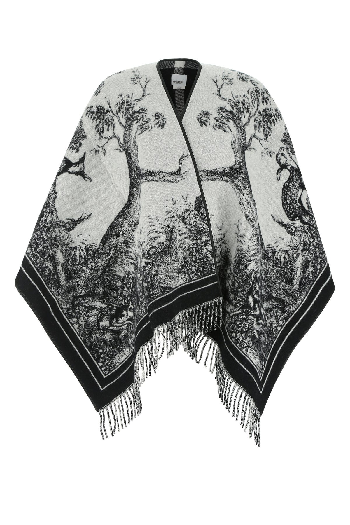 Burberry Embroidered Wool Blend Cape  Printed  Donna Tu