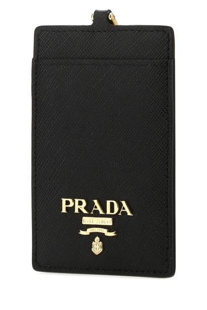 Black leather badge holder