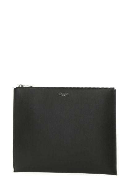 Black leather iPad holder