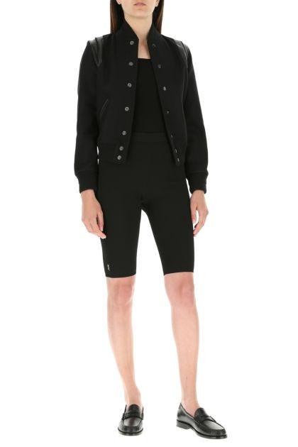 Black wool bomber jacket