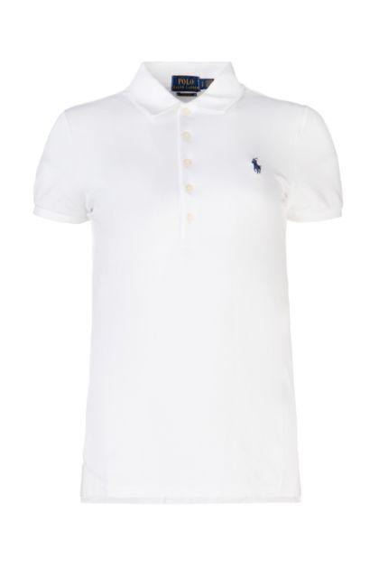 White stretch piquet polo shirt