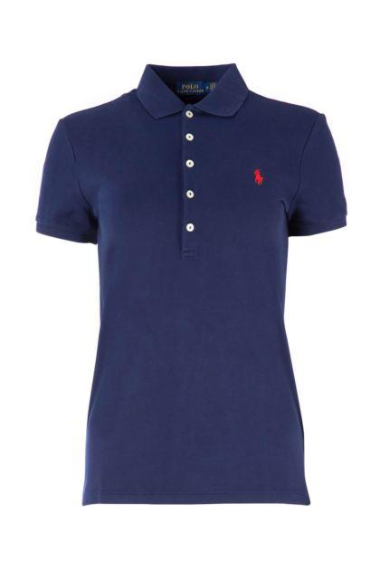 Blue stretch piquet polo shirt