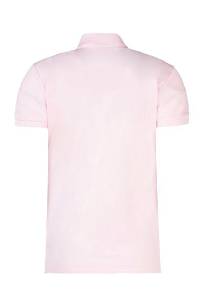 Pink stretch piquet polo shirt