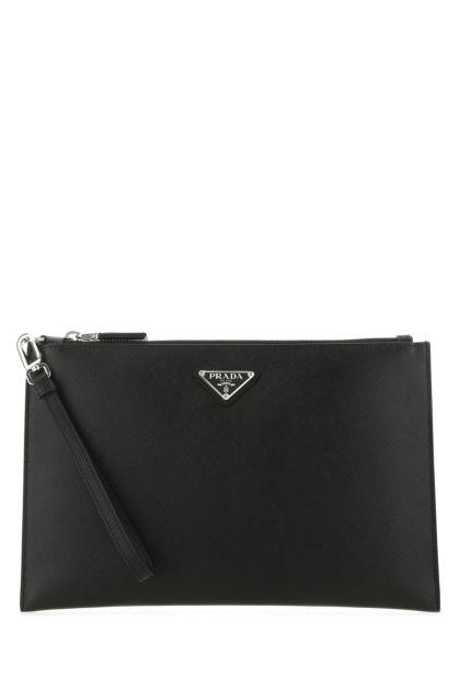 Black leather clutch