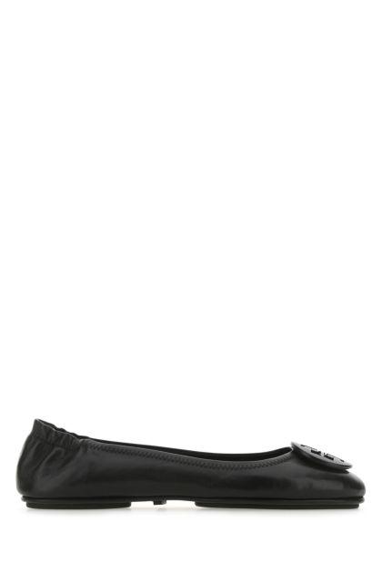 Black nappa leather Minnie ballerinas