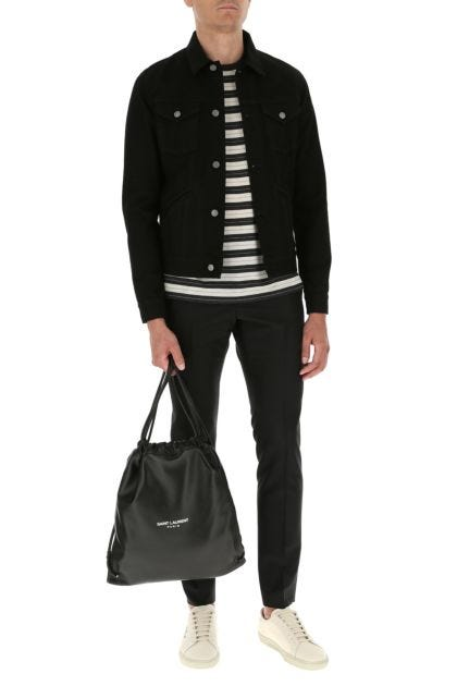 Black nappa leather sack