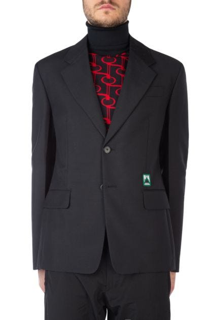 Black mohair blend blazer