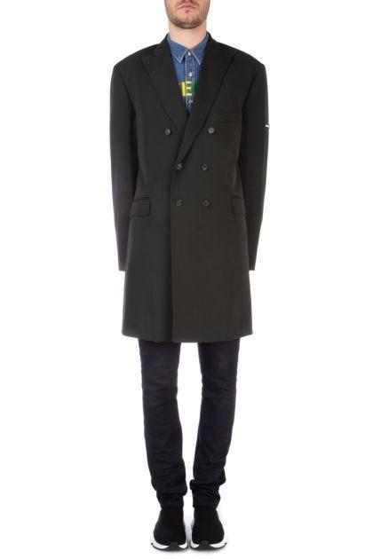 Washed black wool blend oversize coat