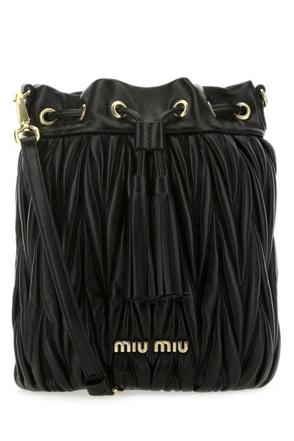 Black nappa leather bucket bag