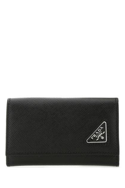 Black leather keyring case