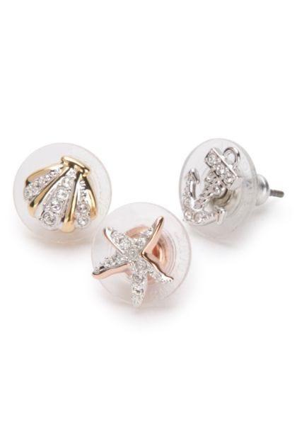 Embellished metal Ocean earrings