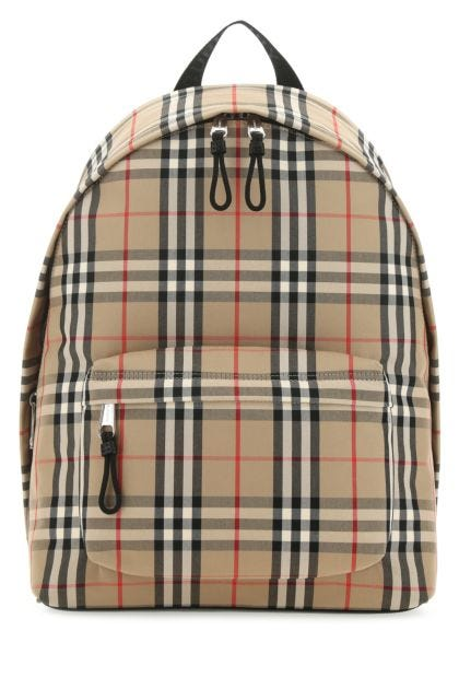 Embroidered cotton and polyester backpack