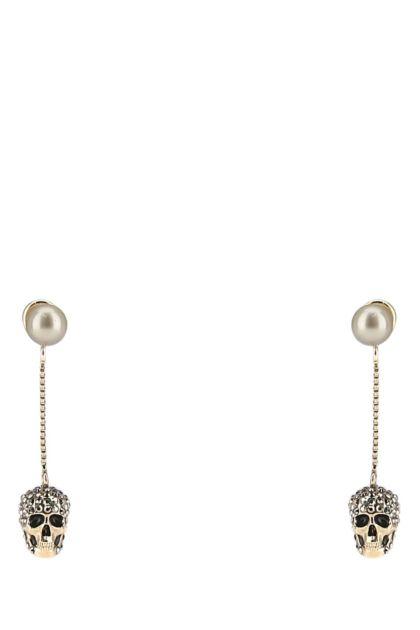Antiqued gold brass earrings