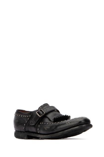 Embellished leather Shangai monk strap shoes
