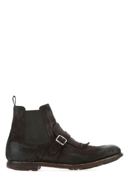 Dark brown suede Shanghai ankle boots