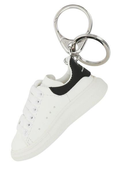 White leather key ring