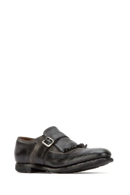 Two-tone leather Shanghai monk strap