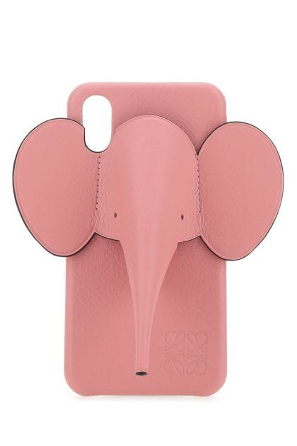 Pink leather iPhone X/XS Elephant phone case