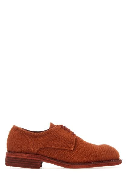 Brick red linen 992 lace-up shoes