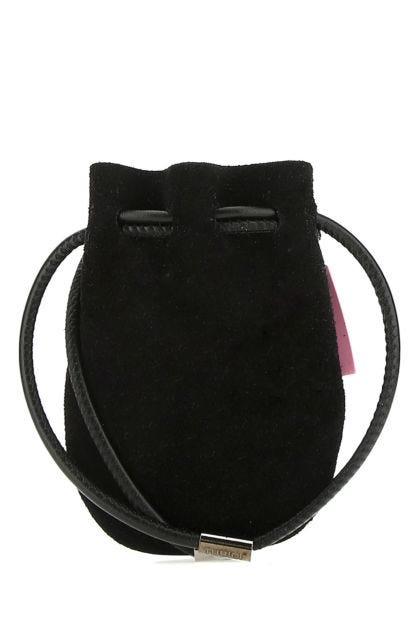 Black suede Mykonos crossbody bag