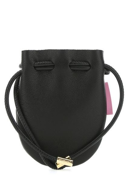 Black nappa leather Mykonos crossbody bag