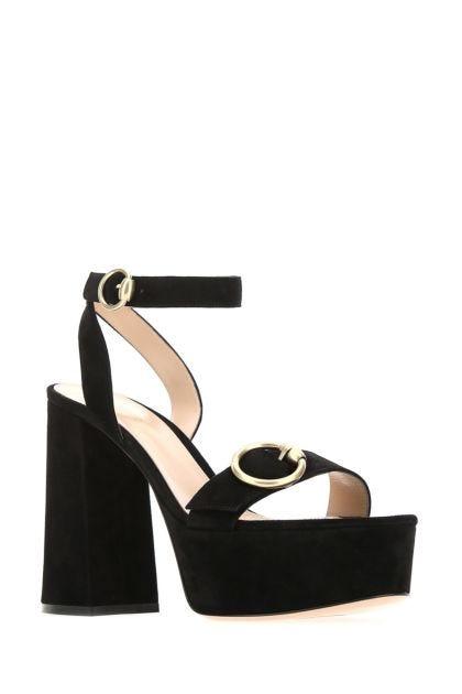 Black suede sandals