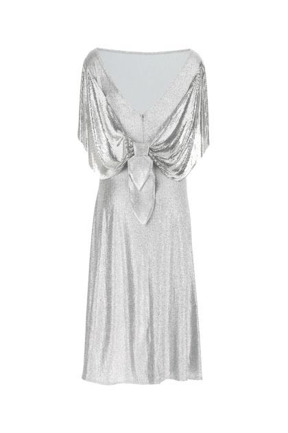 Silver lamè and metal mail dress