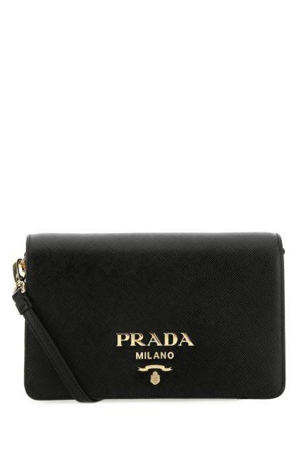Black leather mini clutch