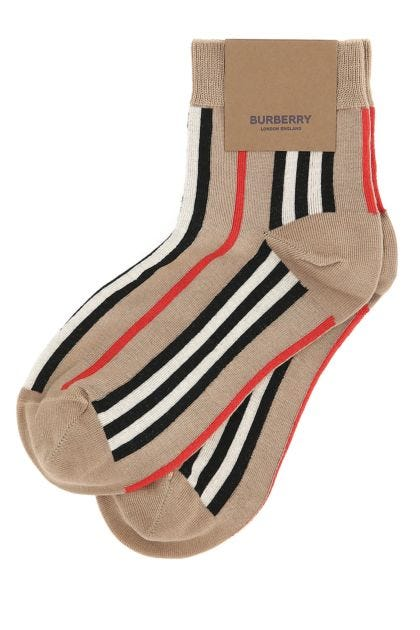 Embroidered stretch cotton blend socks