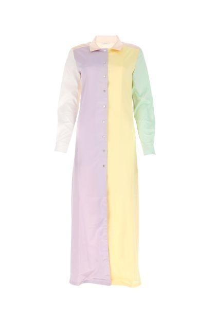 Multicolor satin shirt dress