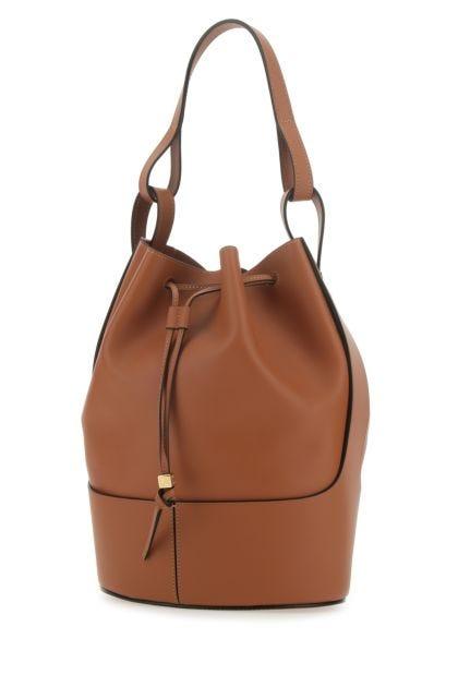 Caramel nappa leather large Balloon bucket bag