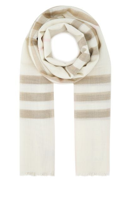 Embroidered wool blend foulard