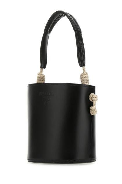 Black leather Tambour bucket bag