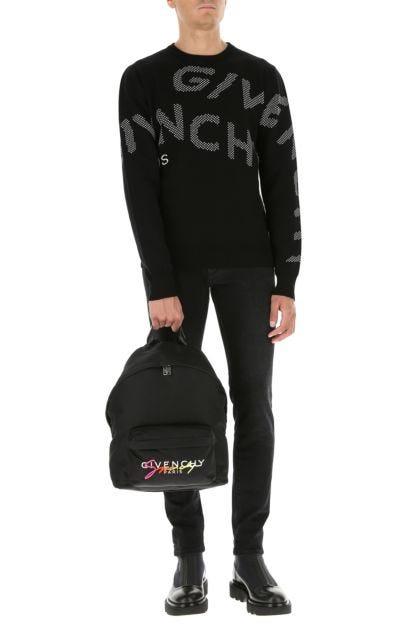 Black acrylic and nylon backpack