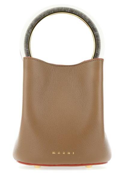 Biscuit leather Pannier bucket bag