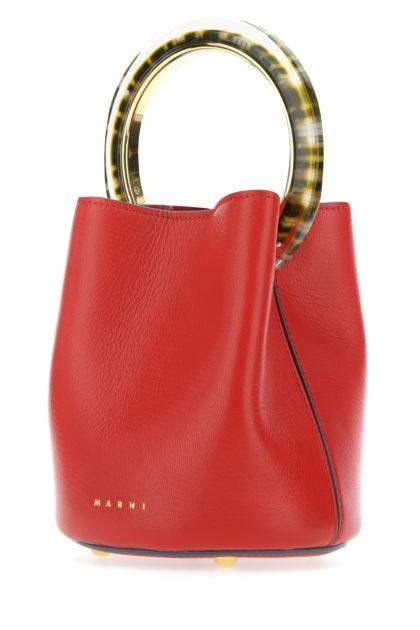 Red leather Pannier bucket bag